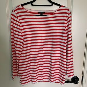 J. Crew Red and White Top